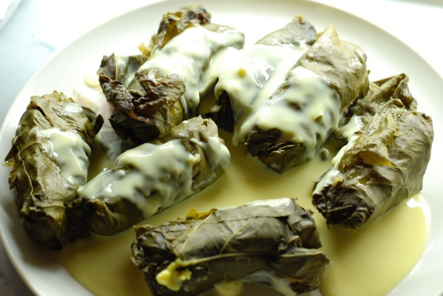 Dolmades me Avgolemono (stuffed grape leaves) | Ruth's Food